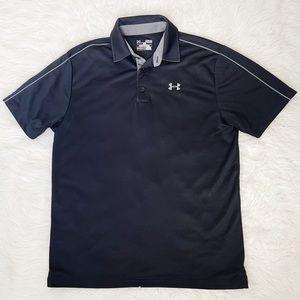 UNDER ARMOUR Men's Black Heat Gear Polo Shirt